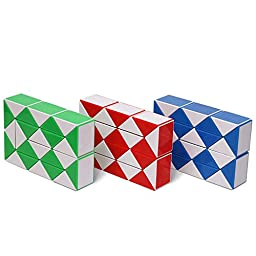 Ganowo Playwin Magic Twist Snake Red/Yellow/Green 3 Color in 1 Package 24-Wedges Twist Puzzle Twisty Toy Collection 3 Piece (White)