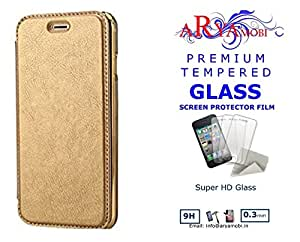 AryaMobi TM© Rock Style Crome Leather Soft TPU TransParent Back Case Flip Cover With Free Tempered Glassfor Samsung Galaxy J7 Prime - Gold