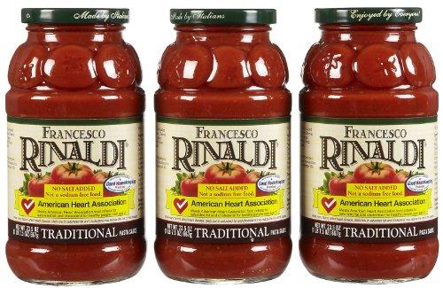 Francesco Rinaldi Traditional Pasta Sauce, No Salt Added, 23.5 oz, 3 pk (Pasta Sauce Low Sodium compare prices)