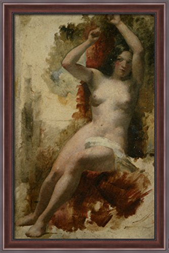 Study of a Seated Nude 26x40 Large Walnut Ornate Wood Framed Canvas Art by William Etty