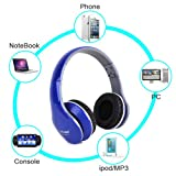 Blue PC Laptop MP3 3.5mm Stereo Wired Headphone Headset with Microphone for SkypeMSNYahoo Handy Ipad iphone samsunghtcEpad Apad Adjustable