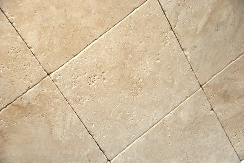 Light / Ivory 12X12 Tumbled Travertine Tile