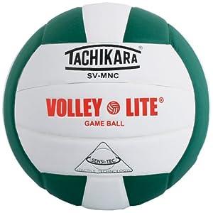 Tachikara SV-MNC Volley-Lite volleyball with Sensi-Tech cover, regulation size but lighter (dark green/white).