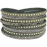 Mevina Damen Strass Armband Wickelarmband Armschmuck mit echten Kristallen in viele Farben