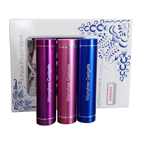 "3Pack Pink(Blue-Purple)2400mAh External Battery Pack Compact ""Lipstick"" Size USB Universal Portable Power Bank Charger."