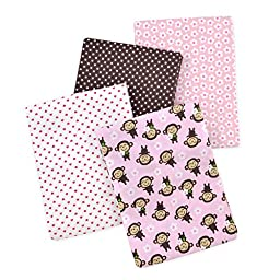 Carter\'s 4 Piece Flannel Receiving Blankets, Monkeys/Pink/White/Brown