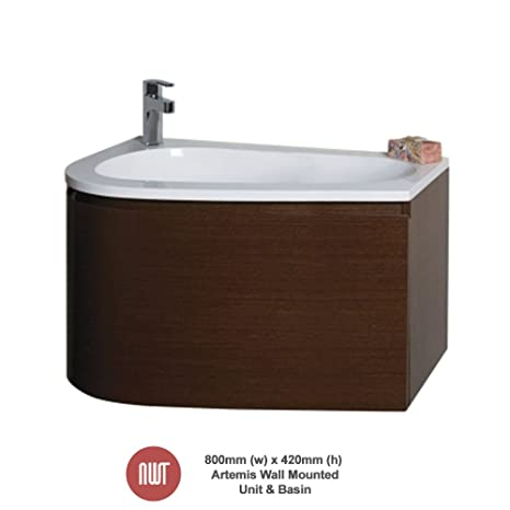 Artemis Wenge Wall Mounted Unit & Basin - 800mm(w) x 420mm(h) x 500mm (d)