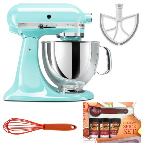 KitchenAid KSM150PSIC Artisan Series 5-Quart Tilt-Head Stand Mixer in Ice + New Metro Design Beater Blade + Accessory Kit Big SALE