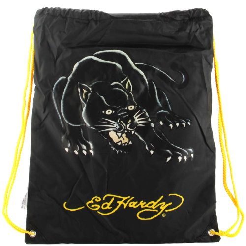 Ed Hardy Drew Drawstring Panther Bag -Black
