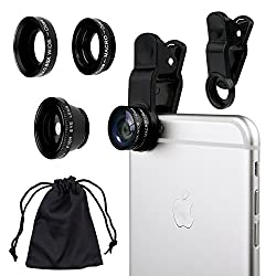 Camkix Universal 3 in 1 Camera Lens Kit for Smart phones (iphone Galaxy HTC Motorola) Ipad Ipod touch Laptops / One Fish Eye Lens / One 2 in 1 Macro Lens and Wide Angle Lens / One Universal Clip / One Microfiber Carrying Bag with Retail packaging(Black)