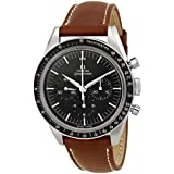 Omega Speedmaster Moonwatch Black Dial Brown Leather Mens Watch 31132403001001
