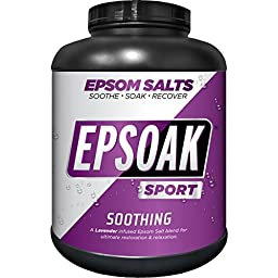 Epsoak SPORT Epsom Salt for Athletes - SOOTHING. All-natural, therapeutic soak with Lavender Essential Oil (8.5lb Canister)