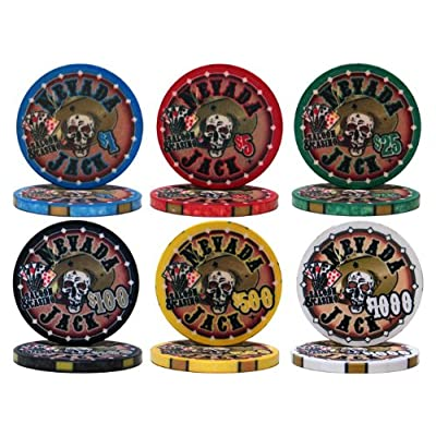Nevada Jack Poker Chips | 10 Gram Ceramic Poker Chip Set 1,000 ct w/ Aluminum Case – Free WPT Book Picture