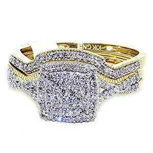 Diamond Wedding Ring Set Yellow Gold 10K 0.33ctw Square Top Pave Set 2pc Set from MidwestJewellery