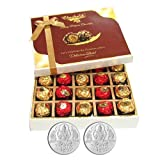 Chocholik Luxury Chocolates - 20pc Unique Combination Of Wrapped Chocolate Box With 5gm X 2 Pure Silver Coins...