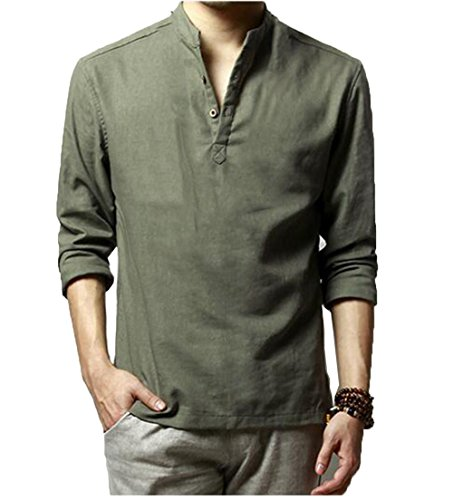 HOEREV uomini di marca casual maniche lunghe di lino Camicie Camicie Beach