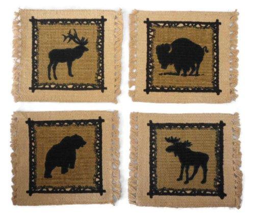 Rustic Lodge Décor Wildlife Stenciled Cotton Coaster Set