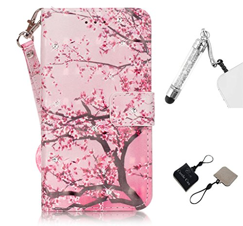 iPhone 5S Phone Case, Castle Cas, Blingbling Diamond&Cherry blossoms, Design PU Leather Wallet Card Slots Stander Feature Soft Cover with Capacitive Pen and C&C Mobile Cleaner [Pink] (Pretty Iphone 5s Cas compare prices)