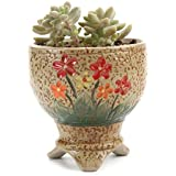 T4U 3.5 Inch Ceramic Hand Painted Tripod Stand Tall Succulent Plant Pot/Cactus Plant Pot Flower Pot/Container/...