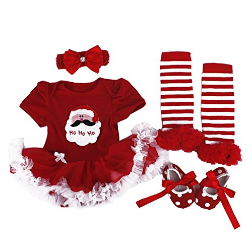 BabyPreg Baby Girls My First Christmas Santa Costume Party Dress 4PCS (S for 3-6 months, Christmas Santa)