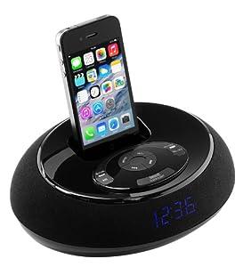 Gear It Radio-réveil avec station d' accueil pour iPhone 3G, 3GS, 4, 4S, iPod Touch 4 et iPod Nano 6 - Noir - Livré avec Prise Anglaise