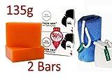 1 Kojie San Skin Lightening Kojic Acid Soap 2 Bars - 135g 1 Authentic Leafa Soap Net - Blue