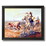 Western Rodeo Cowboys Texas Longhorn Cow Cattle Steer Home Decor Wall Picture Black Framed Art Print