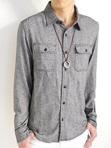 (オークランド) Oakland 起毛 フランネルシャツ シャツ 暖かい ボタンダウン オータム ウィンター 着回し モード 秋 冬 メンズ ブラック Mサイズ
