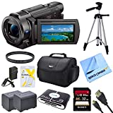 Sony FDRAX33 FDR-AX33 FDR-AX33/B AX33 4K HD Video Recording Handycam Camcorder Bundle With 2 High Capacity Spare Batteries, 32GB High Speed Card, Full Sized Tripod, Deluxe Case, Rapid AC/DC Charger, Micro HDMI Cable, UV Filter, and More