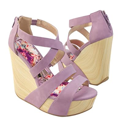 Qupid Women's CAFE13X Criss-cross X-Strap Wooden Wedge Platform High Heel Strappy Sandal Shoes, Lavender Purple PU Leather, 10 B (M) US