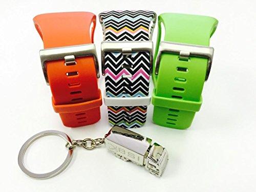 BSI Set 3 - 1 Lime Green 1 Tangerine 1 Zigzag Rainbow Design Replacement Bands For Samsung Gear S Smart Watch Smartwatch Wireless + Free Silver Metal Truck Keychain with BSI(TM) LOGO