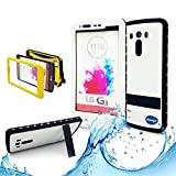 New Lg G3 III Ip 68 Untra Kick-stand Waterproof Case,nika Shop Full Body 6.6 Ft Underwater Attached Screen Protector Waterproof Water Resistant Hard Shell Heavy Duty Case Cover for Lg G3 III Phone, Defender Dirtproof Dustproof Snowproof Sweatproof Shockproof Hard Armor Triple Layer Protective Protection Cover Skin Case for Lg G3 Iii+ Free Screen Protect + Carry Strap(Nika shop-White)