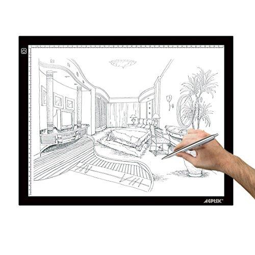 AGPtek® 【超薄型5.5mm】A3サイズ3階段光源調整 USB給電LED超薄型トレビュアー トレース台/絵写し、測量、漫画などに向け *日本語取扱説明書付き(A3)