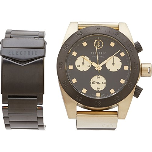 Electric Visual Dw01 Swiss Combo Ss/Pu Analog Designer Watch, Black/Gold / One Size