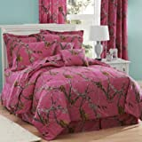 Realtree AP Fuchsia Hot Pink Camo 8 Pc Full Comforter Set and One Window Valance/ Drape Set (Comforter, 1 Flat Sheet, 1 Fitted Sheet, 2 Pillow Cases, 2 Shams, 1 Bedskirt, 1 Valance/Drape Set) SAVE BIG ON BUNDLING!