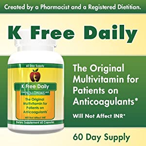 Multivitamin - No Vitamin K - Safe for People on Blood Thinners - 60 Vegetable Capsules (Two Months Supply)