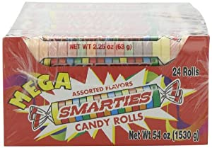 Smarties Candy Rolls, Mega, 24 Count