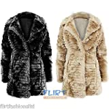 Fashion Wardrobe Womens Long Sleeve Collar Neck Warm Winter Faux Fur Button Coat by NYC Leather Factory Outlet
