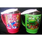 Bob Red With Green Set Of Two Plastic Stainless Steel Tea Or Coffee Mug