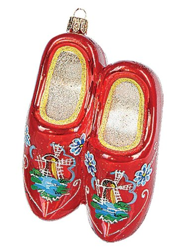 Dutch Wooden Shoe Polish Glass Christmas Ornament Holland Clogs Tree Decoration