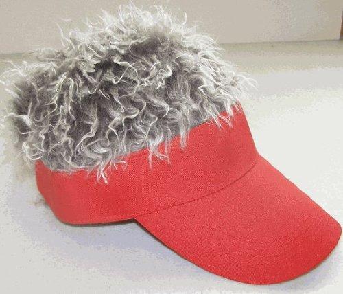 Billy Bob Fun Hair Visor Red With Grey Hair front-431948