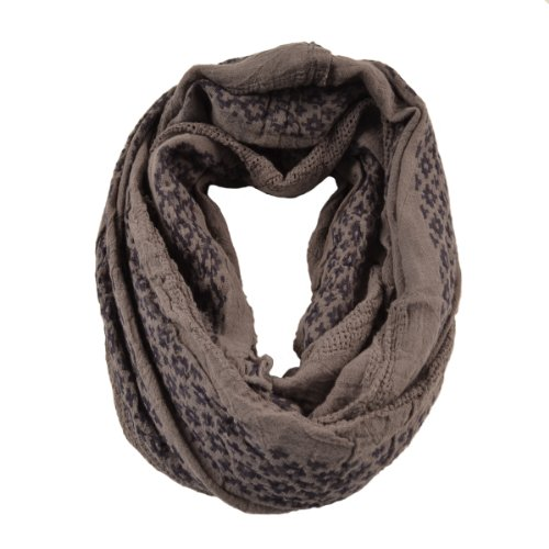 """Cozzy Land Tribal Infinity Scarf-Grey-26.5"""" Circumference; 33"""" Width."""