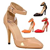 WOMENS MID HIGH ANKLE STRAP CUFF OFFICE WORK PARTY WEDDING COURT SHOES UK SIZE (Red, UK 6)