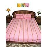 Amita's Home Furnishing Pink Colour Hand Embroided Bed Linen With 2 Pillow Cover