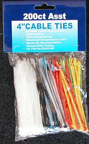 200 Cable Ties - Assorted Colors