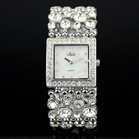Iced Out Multi Crystal in Silver Base Wide Bracelet Fashion Statement Watch