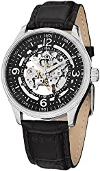 Stuhrling Original Men's 730.01 Delphi Automatic Skeleton Black Genuine Leather Strap Watch
