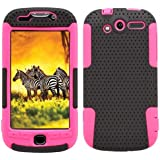 MINITURTLE, 2 in 1 Mesh Hybrid Hard Phone Case Cover, Jaw Phone Stand, and Clear Screen Protector Film for Htc Mytouch 4g 2010 /T-mobile (Black / Pink)