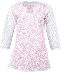 ALMAS Lucknow Chikan Women's Cotton Regular Fit Kurti (White and Light Pink)