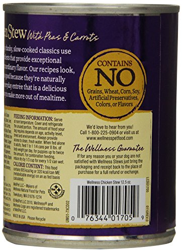 Wellness Thick & Chunky Grain Free Chicken Stew Natural Wet Canned Dog Food, 12.5-Ounce Can (Pack of 12)_Image4